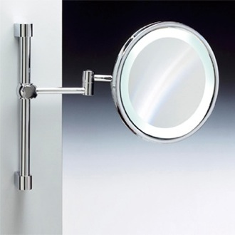 Makeup Mirror Wall Mounted Round Lighted 3x or 5x Chrome or Gold Magnifying Mirror Windisch 99189