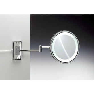 Makeup Mirror Wall Mounted Brass LED Mirror With 3x, 5x Magnification Windisch 99287