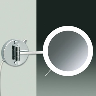 Makeup Mirror Wall Mounted One Face Chrome or Gold Lighted 3x or 5x Magnifying Mirror Windisch 99650/1