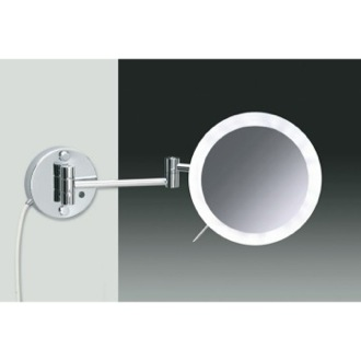 Makeup Mirror Wall Mounted Chrome or Gold One Face Lighted 3x or 5x Magnifying Mirror Windisch 99650/2