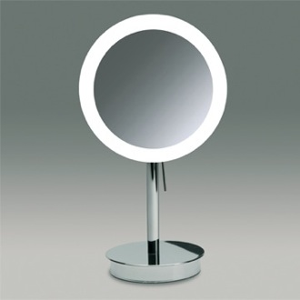 Makeup Mirror Round Pedestal Lighted 3x or 5x Chrome or Gold Magnifying Mirror Windisch 99651