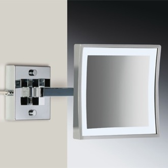 Makeup Mirror Square Wall Mounted Brass LED 3x Magnifying Mirror Windisch 99667/2