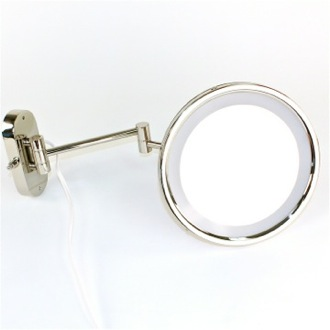 Makeup Mirror Wall Mounted Lighted Hardwired 3x or 5x Brass Magnifying Mirror Windisch 99150/D