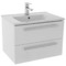 25 Inch Glossy White Wall Mount Bathroom Vanity Set, 2 Drawers