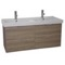 47 Inch Wall Mount Larch Canapa Double Vanity Cabinet With Fitted Sink