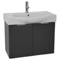 28 Inch Wall Mount Glossy Anthracite Vanity Cabinet With Fitted Curved Sink