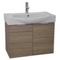 28 Inch Wall Mount Larch Canapa Vanity Set, Curved Sink