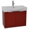 28 Inch Wall Mount Glossy Red Vanity Cabinet With Fitted Curved Sink