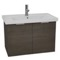31 Inch Wall Mount Grey Oak Vanity Cabinet With Fitted Sink