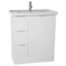 31 Inch Floor Standing Glossy White Vanity Cabinet With Fitted Sink