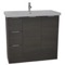 39 Inch Floor Standing Grey Oak Vanity Cabinet With Fitted Sink