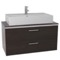 38 Inch Wenge Vessel Sink Bathroom Vanity, Wall Mounted