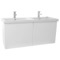 47 Inch Glossy White Double Bathroom Vanity with Ceramic Sink