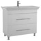 38 Inch Floor Standing White Vanity Cabinet With Fitted Sink