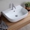 Modern White Ceramic Wall Mounted or Vessel Sink