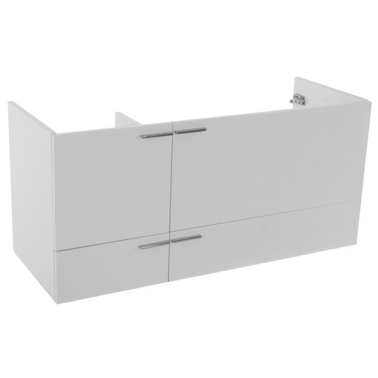 Vanity Cabinet, ACF L412W, 47 Inch Wall Mount Glossy White Double Bathroom Vanity Cabinet