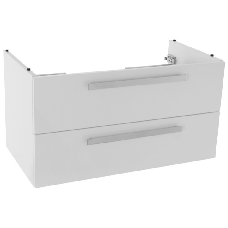 Vanity Cabinet, ACF L818W, 33 Inch Wall Mount Glossy White Bathroom Vanity Cabinet