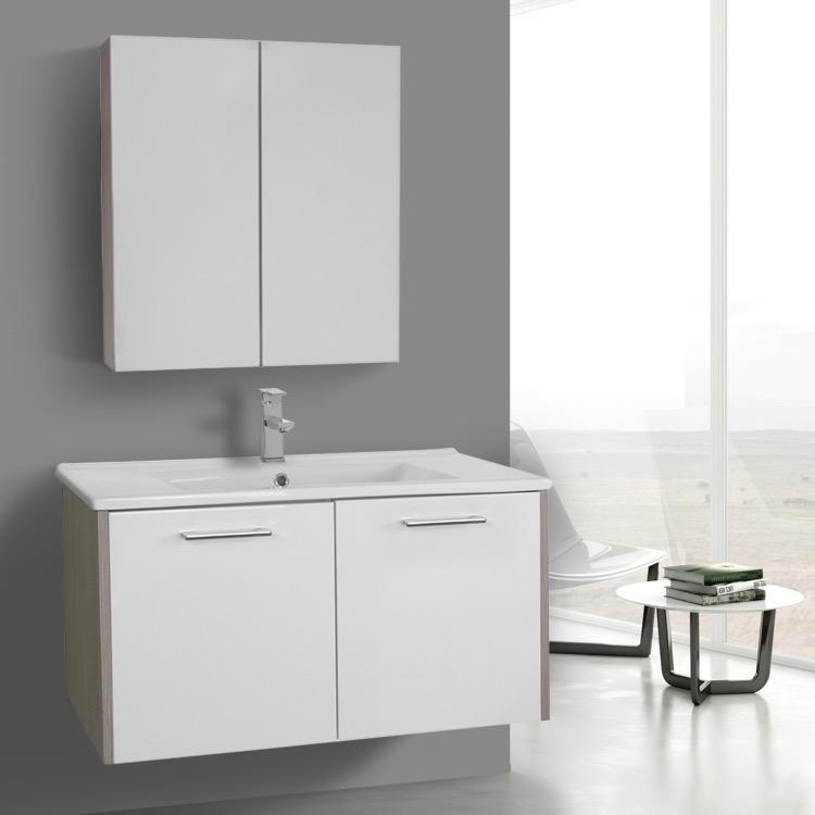 Bathroom Vanity, ACF NI46, 33 Inch Glossy White and Larch Canapa Bathroom Vanity Set