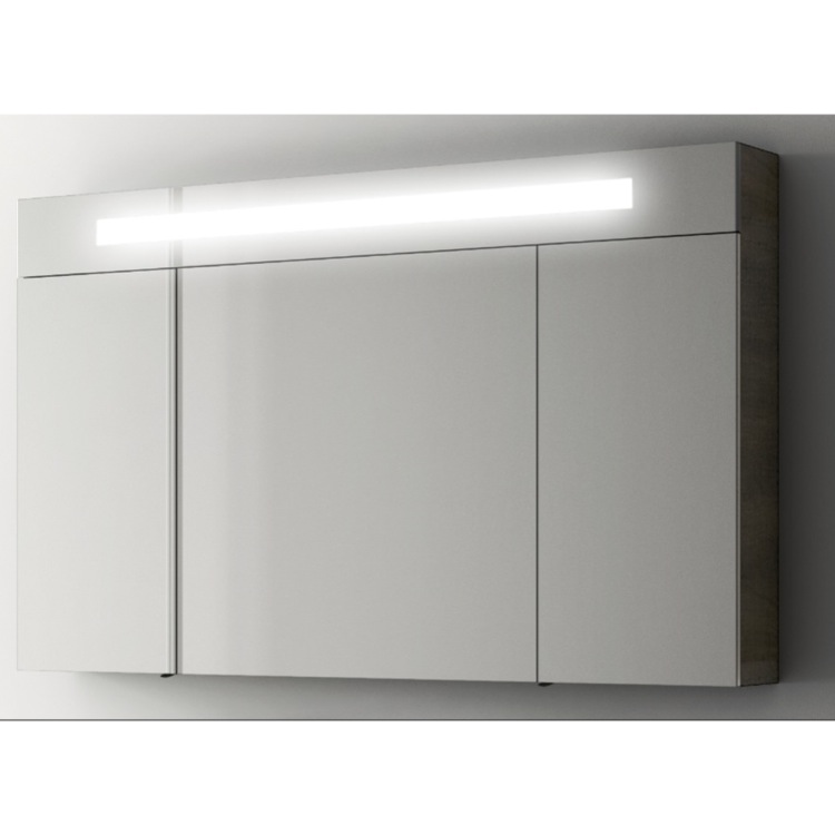 Medicine Cabinet, ACF S512, Modern 47 Inch Medicine Cabinet with 3 Doors and Neon Light