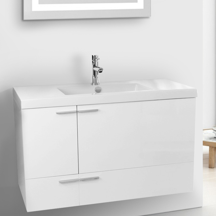 Bathroom Vanity, ACF ANS356, 39 Inch Glossy White Bathroom Vanity with Fitted Ceramic Sink, Wall Mounted