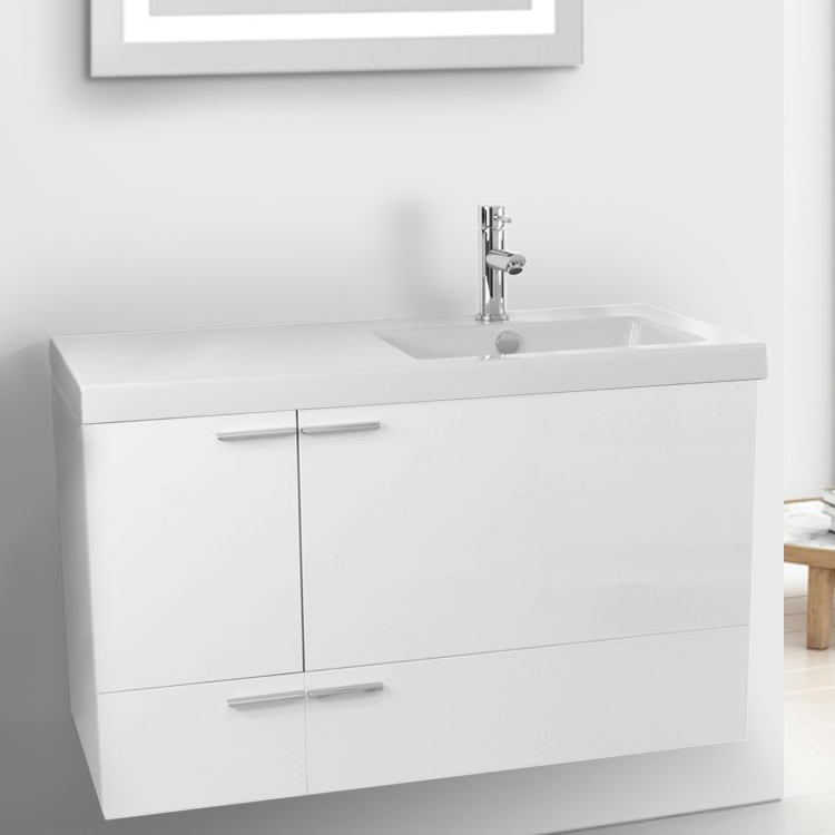 Bathroom Vanity, ACF ANS45-Glossy White, 39 Inch Vanity Cabinet With Fitted Sink