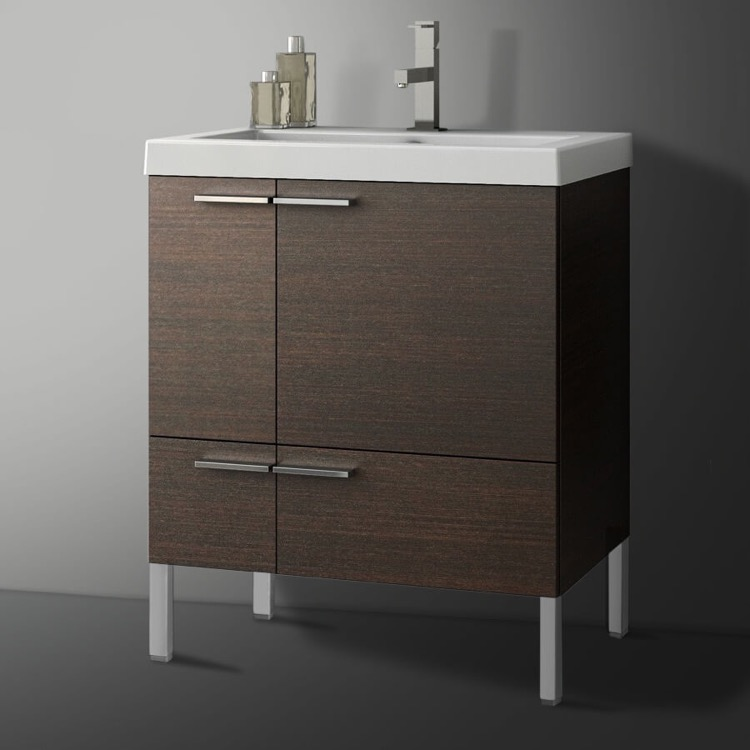 Bathroom Vanity, ACF ANS30-Wenge, 23 Inch Vanity Cabinet With Fitted Sink