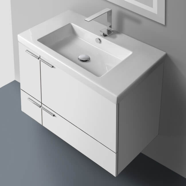 Bathroom Vanity, ACF ANS31-Glossy White, 31 Inch Vanity Cabinet With Fitted Sink