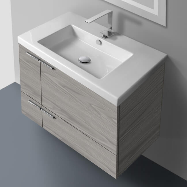 Bathroom Vanity, ACF ANS31-Grey Walnut, 31 Inch Vanity Cabinet With Fitted Sink