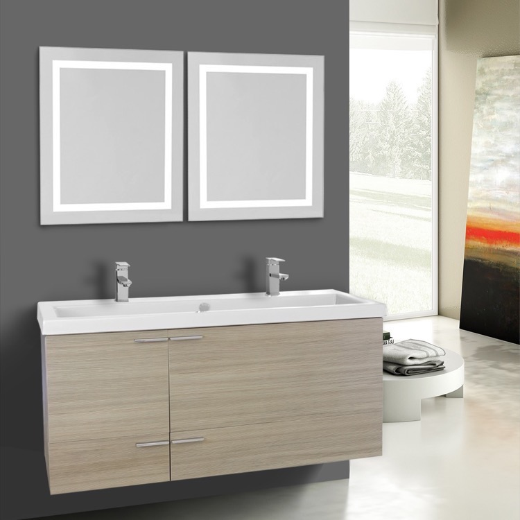 Bathroom Vanity, ACF ANS1130, 47 Inch Larch Canapa Bathroom Vanity Set, Double Sink, Lighted Mirrors Included