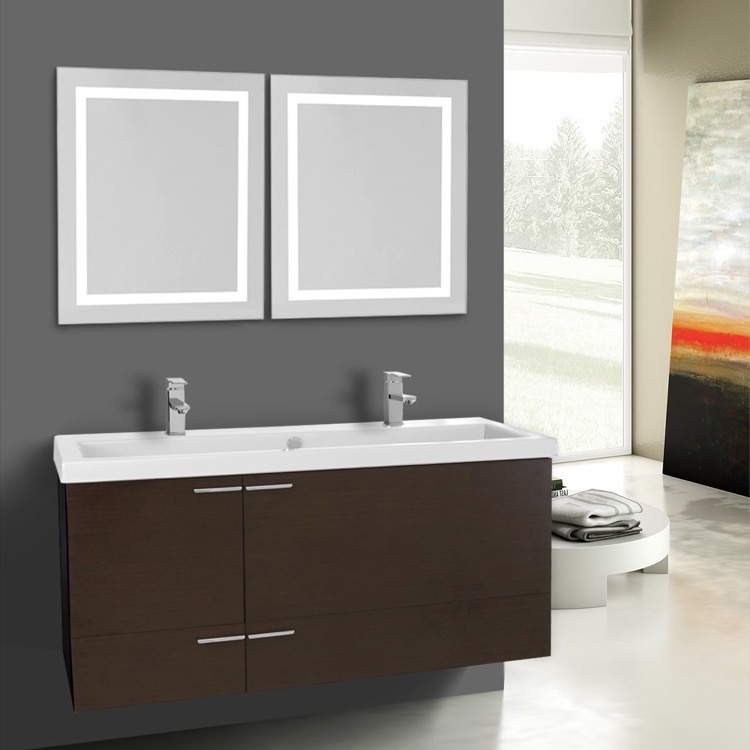 Bathroom Vanity, ACF ANS1122, 47 Inch Wenge Bathroom Vanity Set, Double Sink, Lighted Mirrors Included