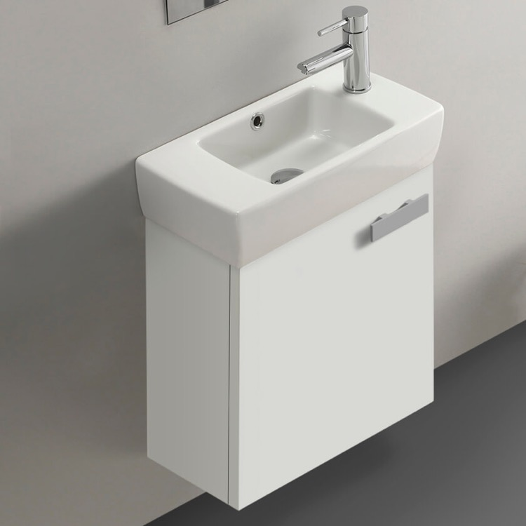 Bathroom Vanity, ACF C137, 19 Inch Glossy White Wall Mount Bathroom Vanity with Fitted Ceramic Sink