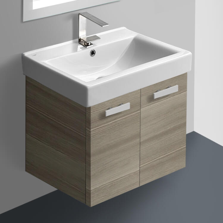 Bathroom Vanity, ACF C144, 24 Inch Larch Canapa Wall Mount Bathroom Vanity with Fitted Ceramic Sink