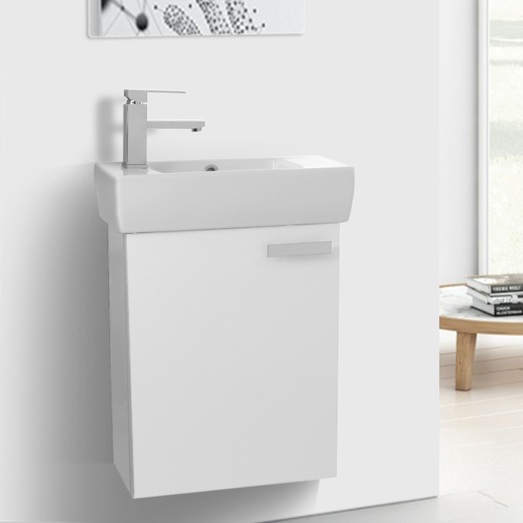 Bathroom Vanity, ACF C133V, 19 Inch Glossy White Wall Mount Bathroom Vanity with Fitted Ceramic Sink