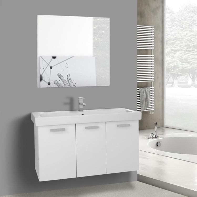 Gedy 3 Door Mirror Bathroom Cabinet White Gloss ...