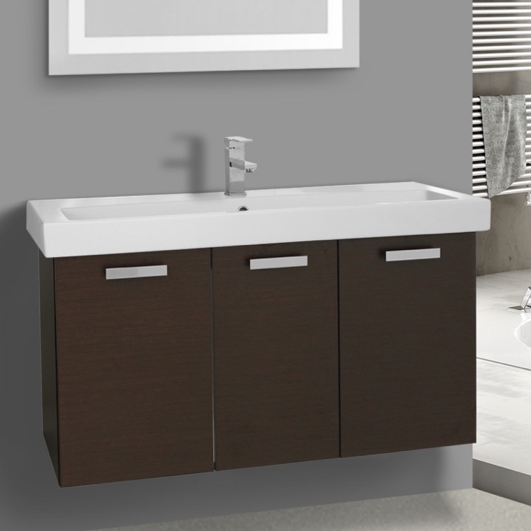 Bathroom Vanity, ACF C518, 39 Inch Wenge Wall Mount Bathroom Vanity with Fitted Ceramic Sink