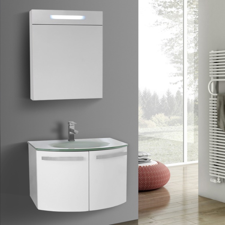 Bathroom Vanity, ACF CD132, 28 Inch Glossy White Bathroom Vanity With White  Glass Top