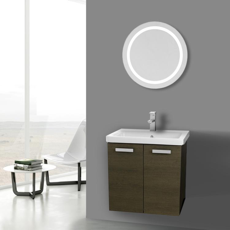 Bathroom Vanity Acf Cp125 24 Inch Grey Oak Wall Mount With Ed Ceramic