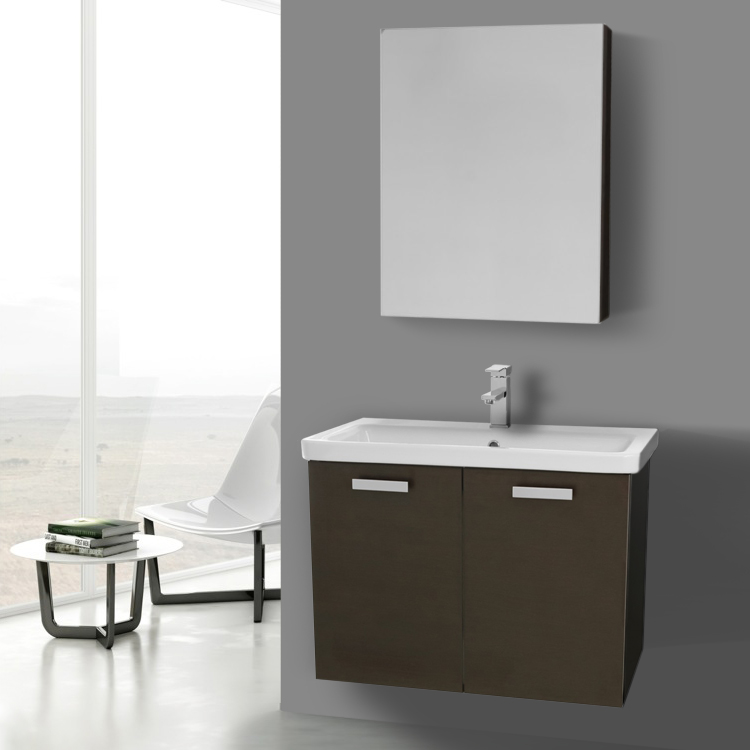 Bathroom Vanity Acf Cp340 32 Inch Wenge Wall Mount With Ed Ceramic Sink