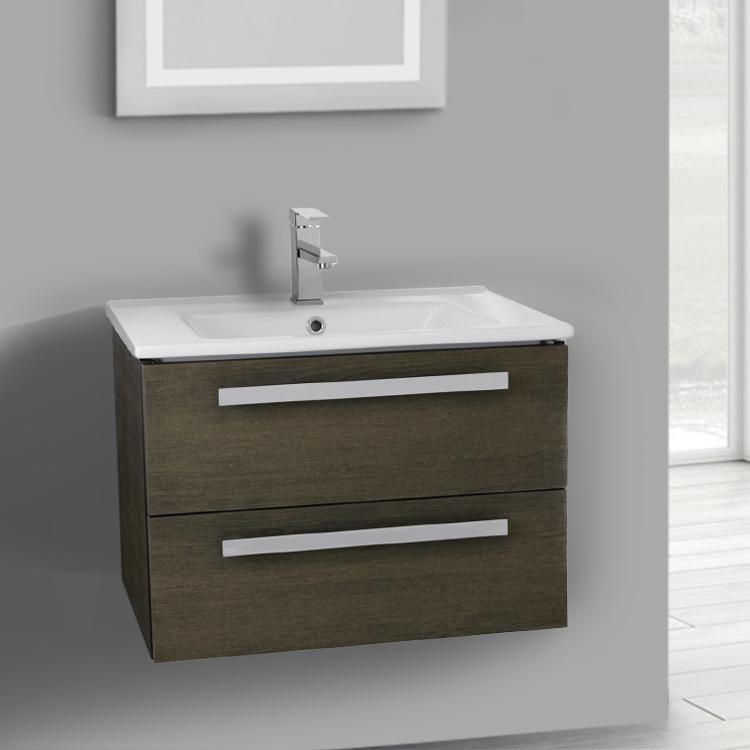 Bathroom Vanity, ACF DA26, 25 Inch Grey Oak Wall Mount Bathroom Vanity Set,