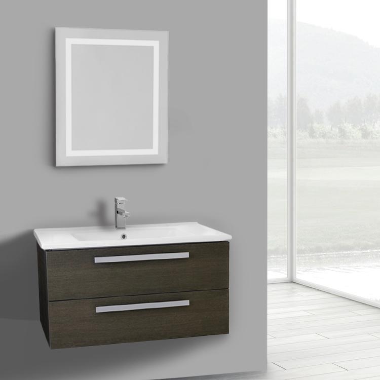 Bathroom Vanity, ACF DA84, 33 Inch Grey Oak Wall Mount Bathroom Vanity Set,