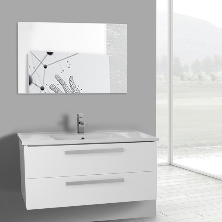 Bathroom Vanity, ACF DA112, 38 Inch Glossy White Wall Mount Bathroom Vanity  Set,