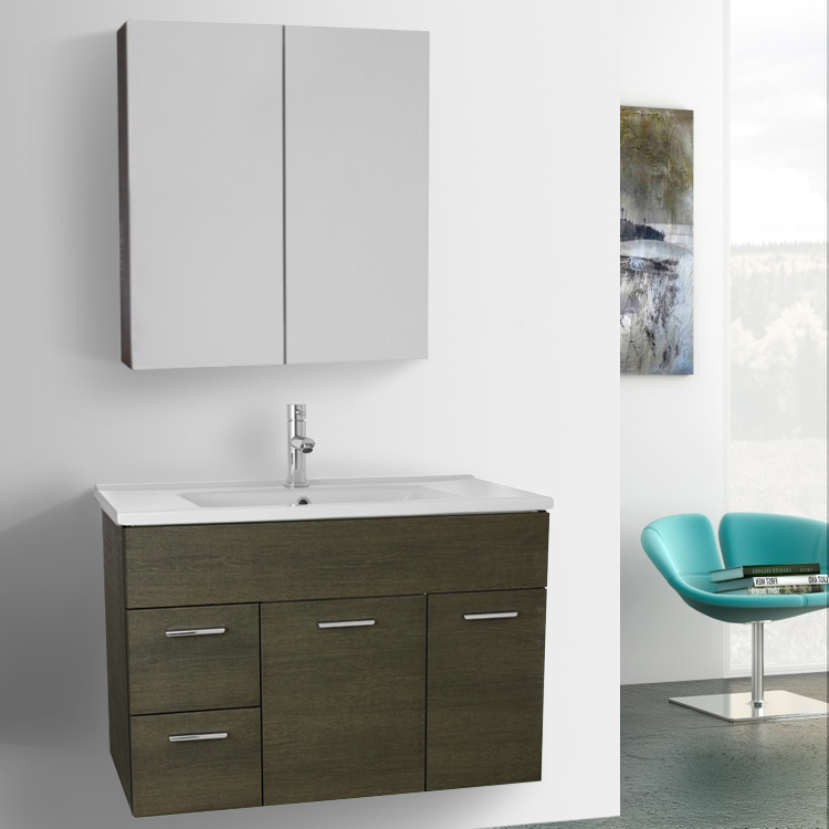 Bathroom Vanity Acf Lor41 33 Inch Grey Oak Set Wall Mounted