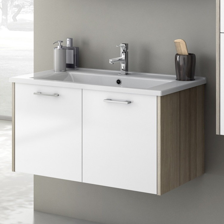 Bathroom Vanity, ACF NI04, 33 Inch Vanity Cabinet With Fitted Sink