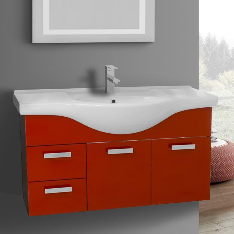 Bathroom Vanity, ACF PH52, 39 Inch Wall Mount Glossy Red Bathroom Vanity Set