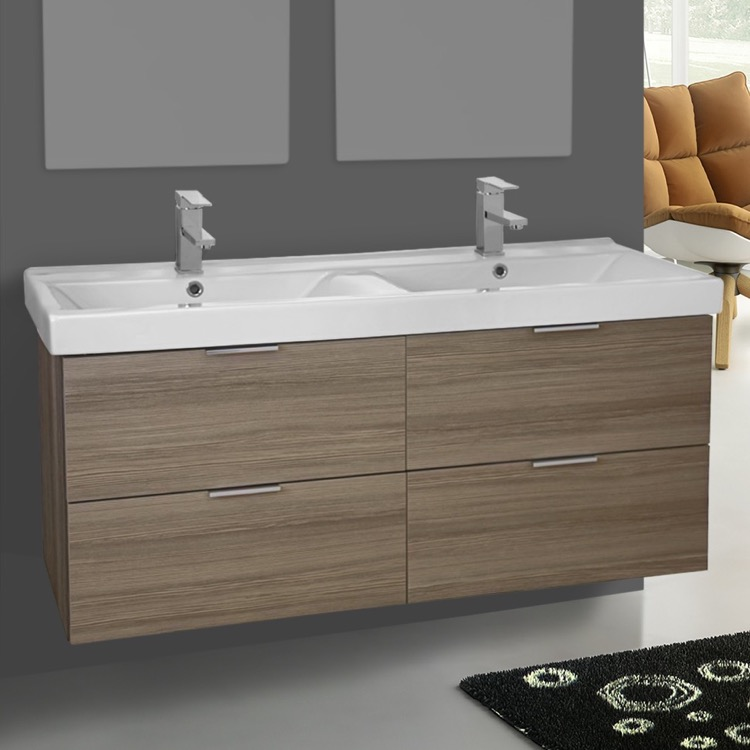 Bathroom Vanity, ARCOM DF01, 47 Inch Wall Mount Larch Canapa Double Vanity Cabinet With Fitted Sink