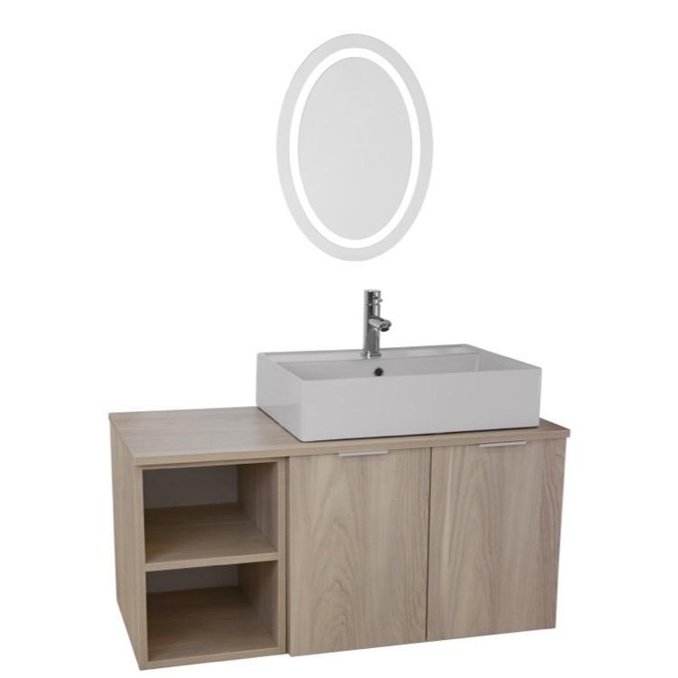 Bathroom Vanity, ARCOM ES28, 41 Inch Light Yosemite Wall Mounted Bathroom  Vanity Set,