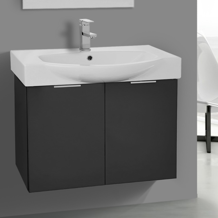 Bathroom Vanity, ARCOM KAL02, 28 Inch Wall Mount Glossy Anthracite Vanity Cabinet With Fitted Curved Sink