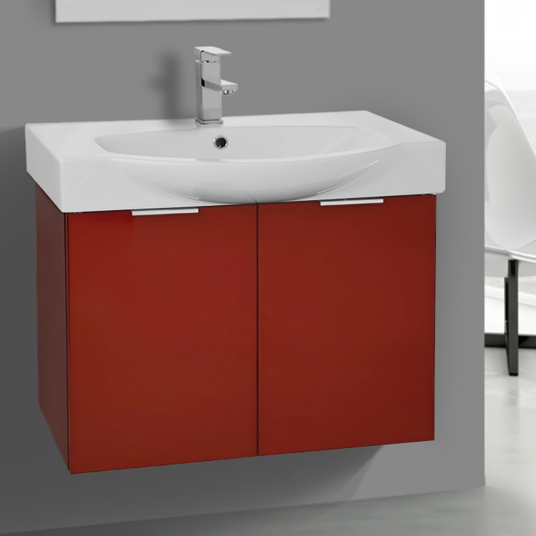 Bathroom Vanity, ARCOM KAL05, 28 Inch Wall Mount Glossy Red Vanity Cabinet With Fitted Curved Sink