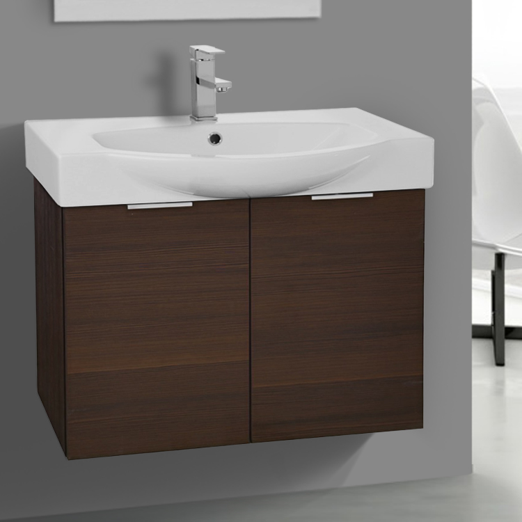 Bathroom Vanity Arcom Kal04 28 Inch Wall Mount Larch Brown Cabinet With Ed
