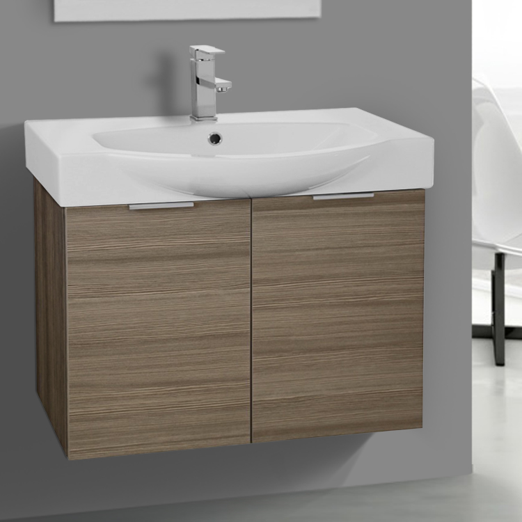 Bathroom Vanity, ARCOM KAL03, 28 Inch Wall Mount Larch Canapa Vanity Set, Curved Sink